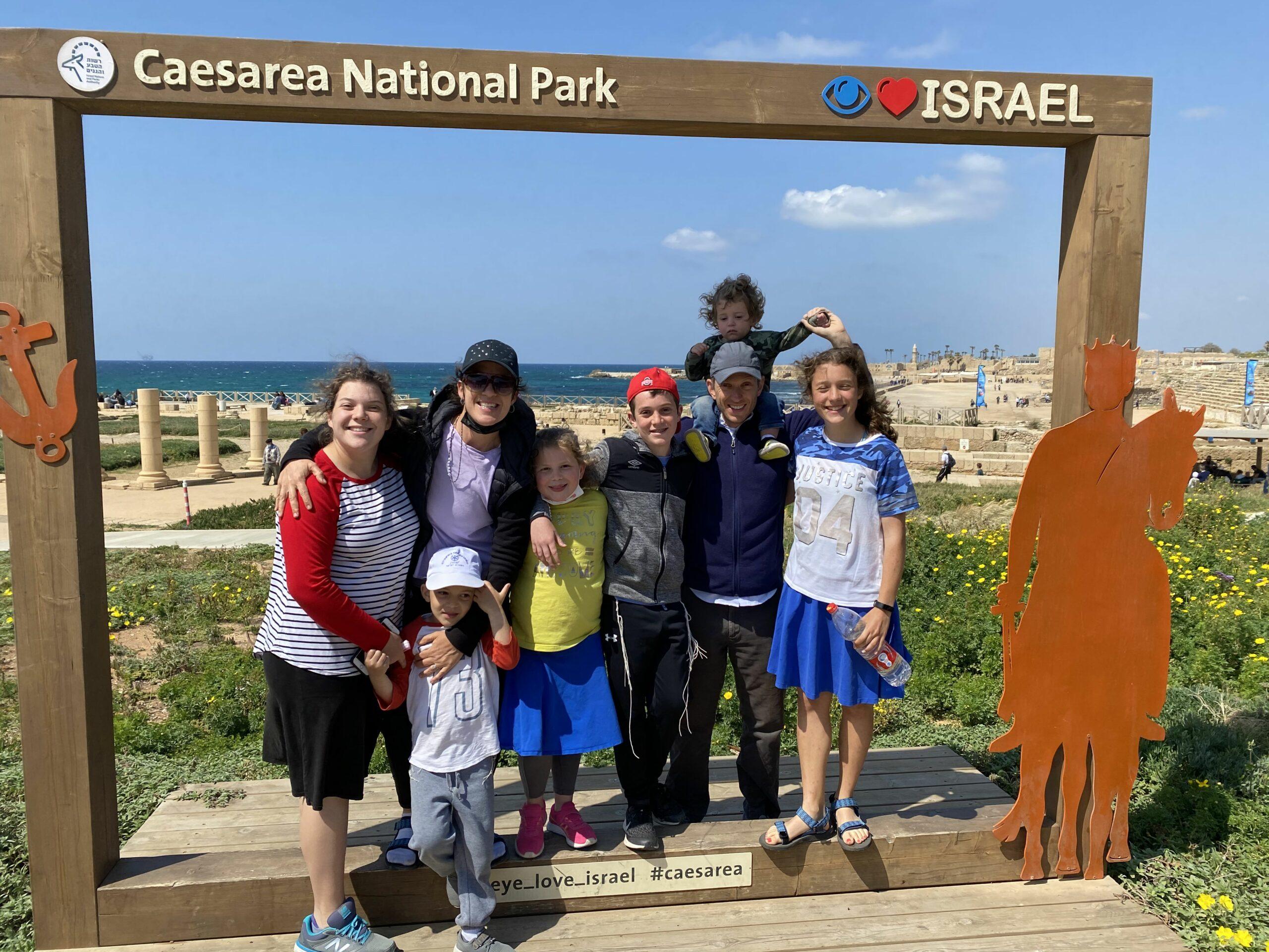 Weisz family enjoying a fun and historical trip to Caesarea National Park