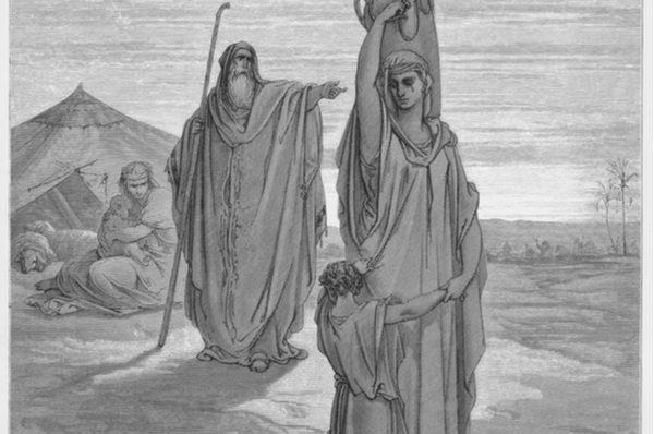 Abraham sends Hagar and Ishmael away (Gustave Dore, 1885)